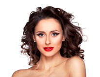 Sensual young girl with professional makeup and hairstyle. Photo of beautiful nude fashion female model with professional makeup and hairstyle on white Stock Image