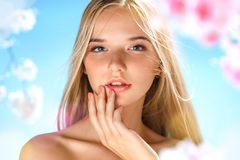 Sensual young girl touching her lips. Youth and skin care concept. Spring Stock Images