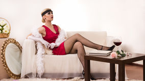 Sensual young lady in boudoir Royalty Free Stock Images