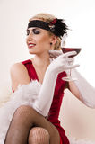 Sensual young lady in red Royalty Free Stock Photos