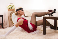 Sensual young lady in red Stock Image