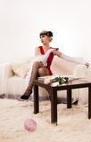 Sensual young lady in red Royalty Free Stock Images