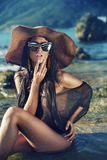 Sensual young lady on the tropical beach. Sensual young woman on the tropical beach Royalty Free Stock Images