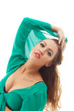 Sensual young model posing in green blouse Royalty Free Stock Images