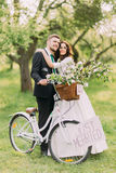 Sensual young newlywed couple posing in sunny park with bicycle Royalty Free Stock Photography