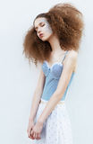 Sensual Young Slimfemale With Closed Eyes Standing Royalty Free Stock Images