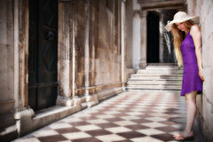 Sensual young woman and ancient building Royalty Free Stock Photo