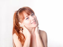 Sensual young woman with beautiful long red hair Royalty Free Stock Photo