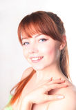 Sensual young woman with beautiful long red hair Stock Photography