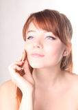 Sensual young woman with beautiful long red hair Stock Photos