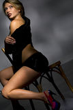 Sensual young woman in black Royalty Free Stock Photo