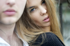 Sensual young woman with guy Royalty Free Stock Photo