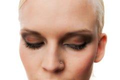 Sensual Young Woman With Modern Makeup. Closeup of Sensual Young Woman With Modern Makeup Stock Photos