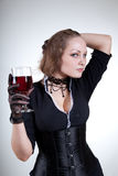 Sensual young woman with red wine Royalty Free Stock Photos