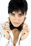 Sensual young woman with tie and shirt Stock Images