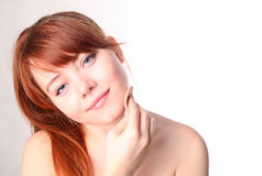 Sensual Young Woman With Beautiful Long Red Hair Stock Photo