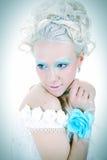 Sensualità con il fiore blu Immagine Stock Libera da Diritti