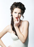 Sensuality. Beautiful female face - studio shot Stock Photo