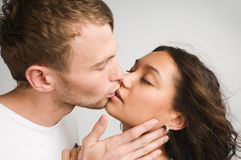 Sensuality couple. Young couple kissing and enjoy each other Royalty Free Stock Image