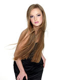 Sensuality fashion girl with long straight hair Stock Photos