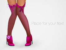 Sensuality long legs. Fashion stockings and high Stock Photos