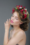 Sensuality. Luxurious Female with Classic Wreath of Flowers Stock Photos