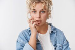 Sensuality, tenderness lifestyle concept. Attractive dreamy feminine blond blue-eyed girlfriend curly haircut open mouth stock photo