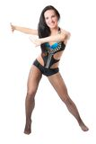 Sensuality woman dance in costume. On isolated white background stock images