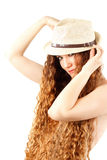 Sensuality woman in fashion hat with  long hair Stock Photos