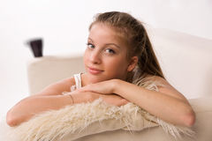 Sensuality Woman Lying On A Sofa Stock Photos