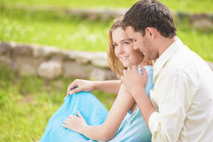Sensuality of Young Caucasian Couple Outside. Horizontal Image Composition Royalty Free Stock Photos