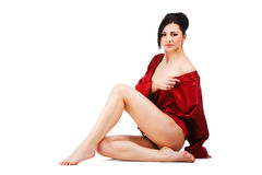 Sensuality young woman in red gown Royalty Free Stock Photo