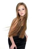 Sensualitymodeflicka med långt rakt hår Arkivfoton