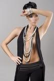 Sensueel meisje met halsband en haarstijl royalty-vrije stock foto