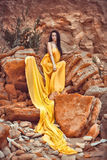 Sensueel meisje op de rotsen Stock Afbeeldingen