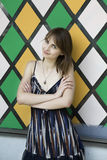 Sensueel portret van jonge mooie donkerbruine vrouw Stock Afbeeldingen