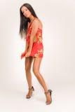 sensuel rouge de fille de robe Photo libre de droits