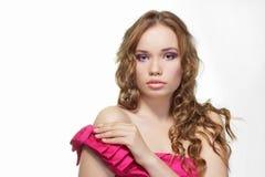 Sensuele aanraking. Portret van mooie vrouw Royalty-vrije Stock Foto's