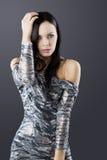 Sensuele brunette met manier zilveren kleding Royalty-vrije Stock Fotografie