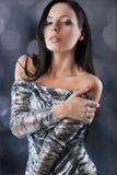 Sensuele brunette met manier zilveren kleding Royalty-vrije Stock Afbeelding