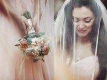Sensuele mooie donkerbruine bruid die en onder haar ve glimlachen verbergen Royalty-vrije Stock Afbeeldingen