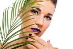 Sensuele mooie donkerbruine vrouw stock foto