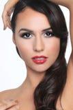 Sensuele Mooie Vrouw op een Witte Achtergrond Royalty-vrije Stock Afbeelding