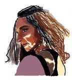 Sensuele vrouwenverleiding met bruin ogen en haar royalty-vrije illustratie