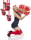 Sensul girl with gift Royalty Free Stock Photography