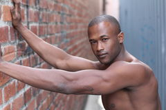 Sensuous African American man shirtless with copy space Stock Photo