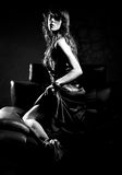 Sensuous Woman On Leather Seat Stock Photography