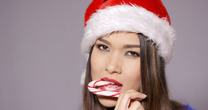 Sensuous young woman sucking on a candy cane Stock Photography