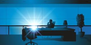 Sentándose en su escritorio, un jefe piensa libre illustration
