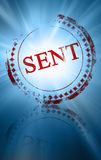 Sent. Red sent stamp on a blue background Royalty Free Stock Image